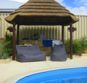 gazebo double lounger and single chaise lounger bean bags
