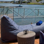 Single chaise lounger outdoor beanbag