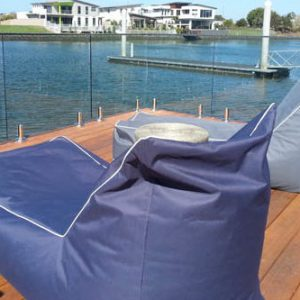 single chaise bean bags on pontoon